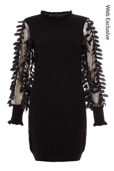 Black Knit Mesh Leaf Design Jumper Dress